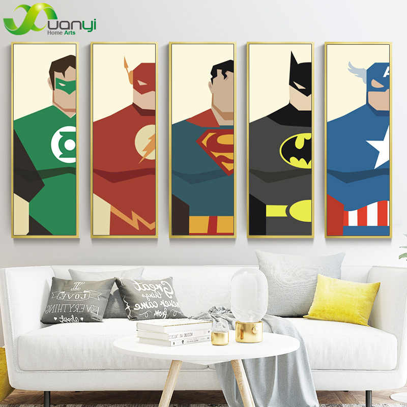 Canvas Print Modern Painting Cuadros Super Hero Poster Superman Batman Cartoon Home Decor Wall Pictures For Living Room Unframed Picture For Living Room Wall Picturesdecor Wall Pictures Aliexpress