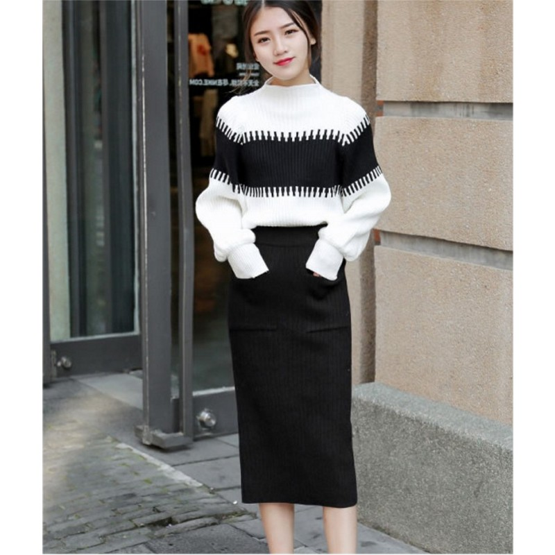 Striped Long-sleeved Pullovers Knitted 2 Piece Sets 2019 Winter Runway Elegant Leisure Suit Skirt   Set