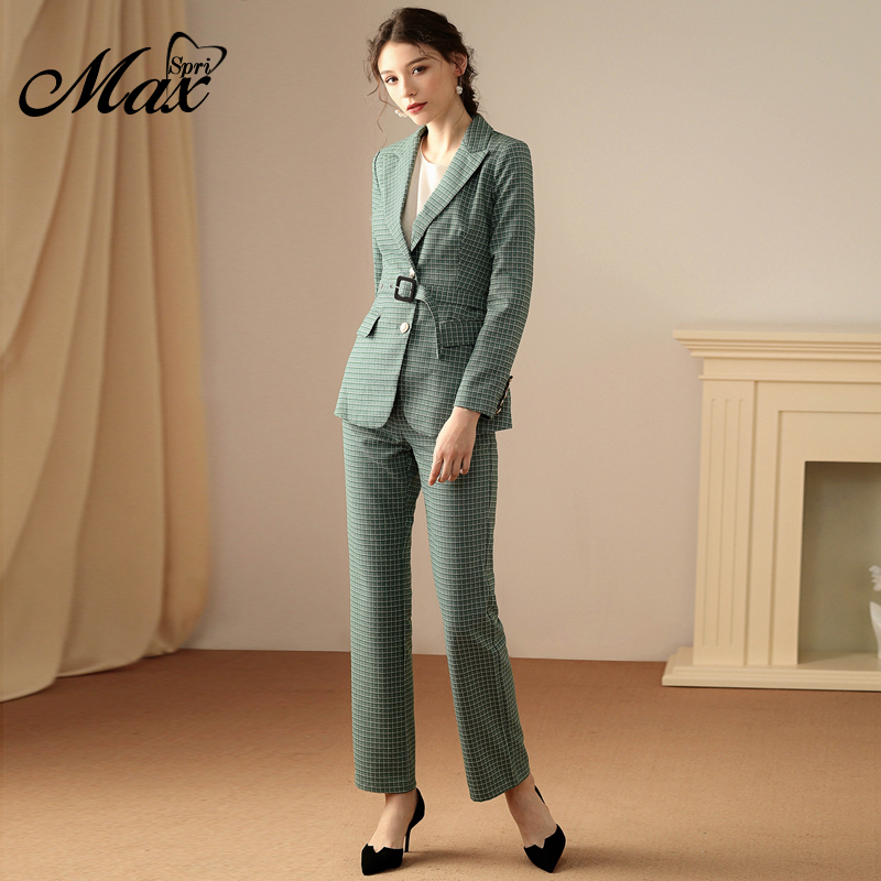 Max Spri 2019 Fashion V-Neck Sexy Business Pant Suits Set Plaid Blazers Formal Women  Elegant Skinny Cut Out With Belt Suit Set