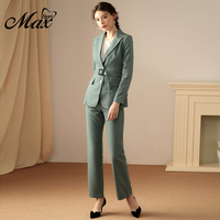 Max Spri 2019 Fashion V Neck Sexy Business Pant Suits Set Plaid Blazers Formal Women Elegant Skinny Cut Out With Belt Suit Set