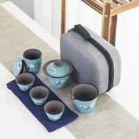 Areia roxa chiness cerâmica portátil kung fu bule conjunto com 4 mini copo e 1 pote adequado para casa escritório conjunto de chá drinkware