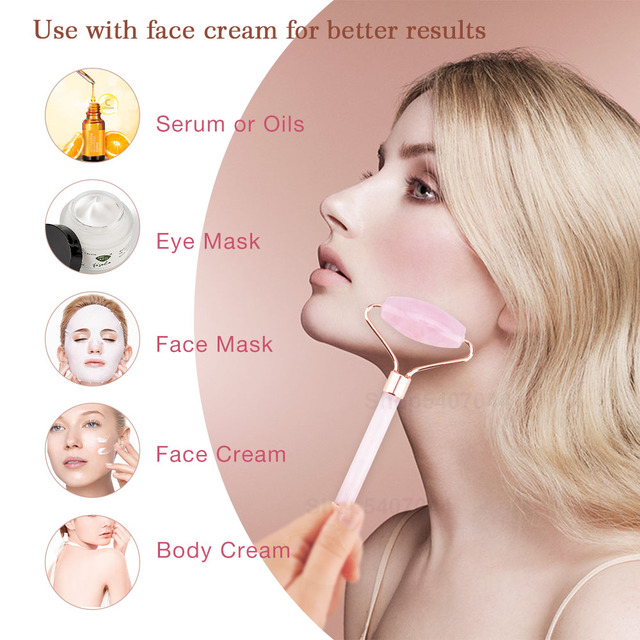 Pedra de jade rolos massageador para rosto rosa rosa quartzo natural pedra emagrecimento queixo levantar facial beleza rolo cuidados com a pele 4