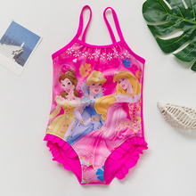 Цельный купальник для девочек, От 2 до 9 лет, детский купальник с оборками, розовый купальник принцессы для девочек 9027