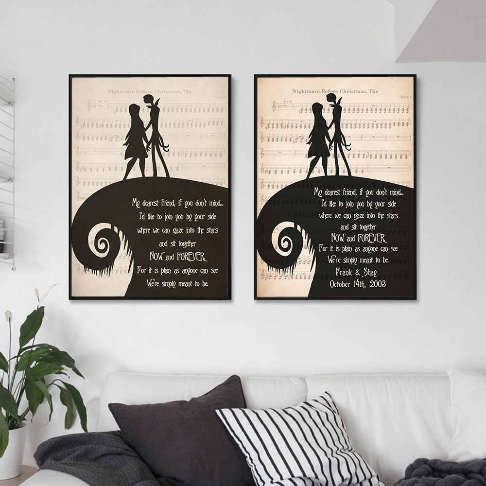 The Nightmare Before Christmas Poster Jack and Sally Quote