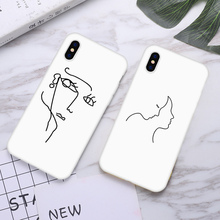 Candy White Phone Case For iPhone xr 7 8 6 6S Plus x XS MAX 5 5S Simple Abstract Lines Lover Phone Cover For iPhone 8 7 Plus цена 2017