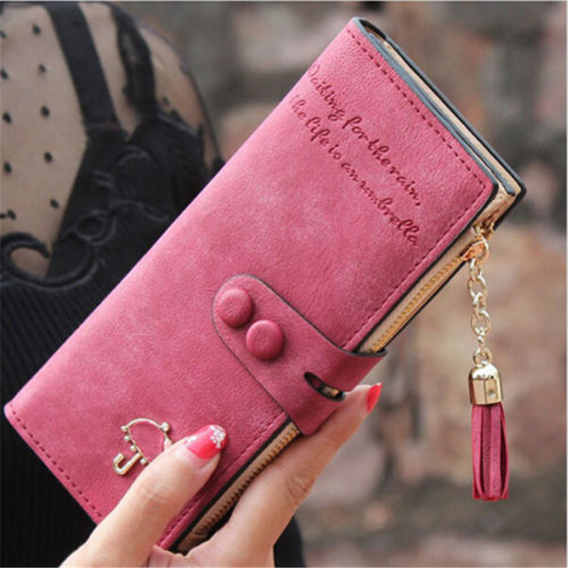 Women Wallets PU Leather Luxury Long Zipper Pocket Ladies Purse Card Holder Wristlet Wallet Tassel Clutch Female Purse W088
