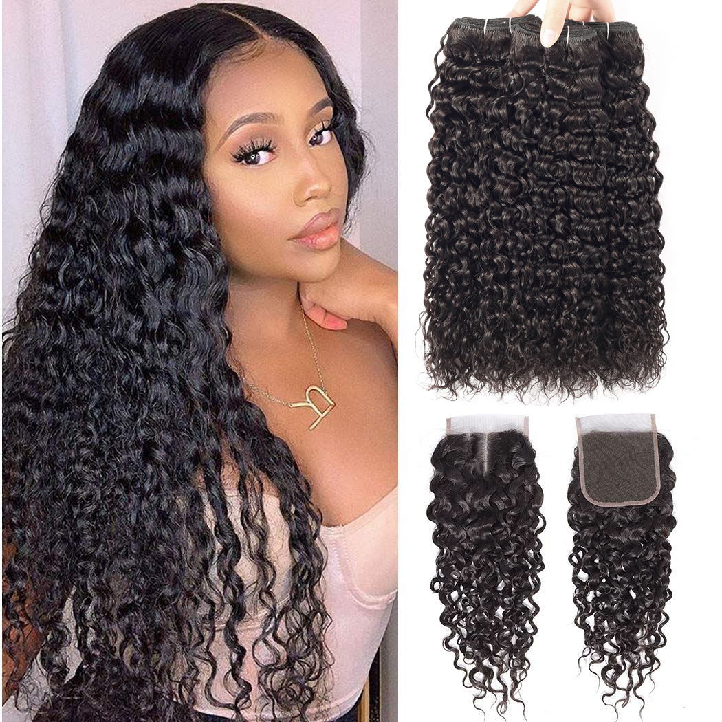 BeauHair Malaysian Water Wave 3 Bundles With 4*4 Lace Closure 100% Human Hair Weave Remy Hair Extensions For Black Women Girls