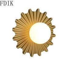 Lámpara de pared de Metal con sol creativa, candelabro Led de cristal nórdico para mesita de noche, pasillo, escaleras, lámpara Vintage, decoración para el hogar, luz de espejo