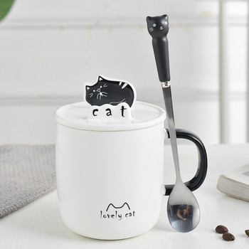 Cartoon Cat Ceramic Mug with Spoon Cover Plain Cute Pet Personalised Coffee Mug Caneca Long Distance Relationship Gifts HH50MK