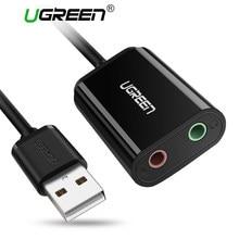 Ugreen 3.5mm placa de som adaptador de áudio externo usb para microfone alto-falante interface de áudio para ps4 pro computador usb soundcard