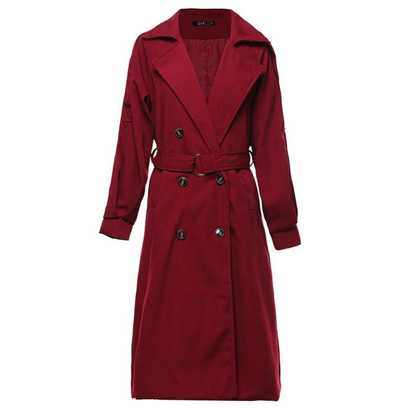 Women Double Breasted Lapel Parka Long Trench Coat Jacket Windbreaker Overcoat