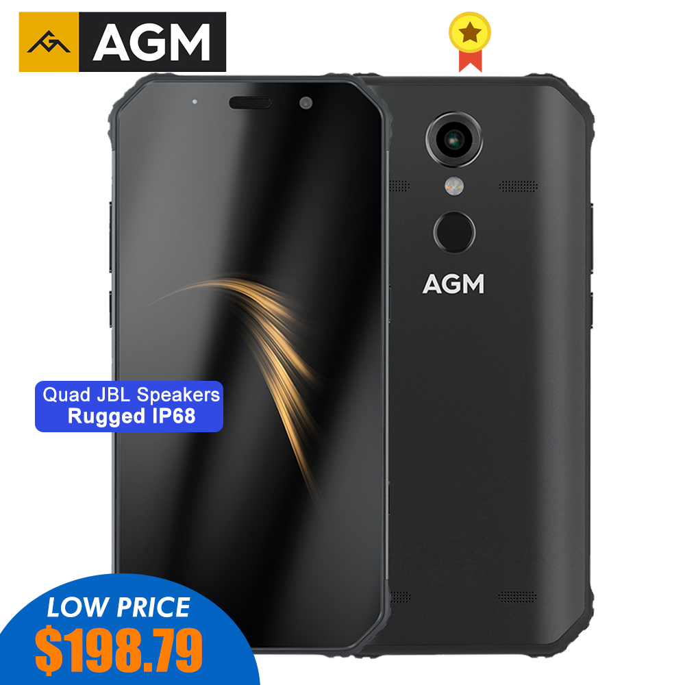 "AGM A9 Rugged Smartphone Qualcomm SDM450 Octa-core 5.99""FHD+ 5400mAh Quick Charge 4G 64G 32G Android 8.1 Quad-Box Speakers NFC"