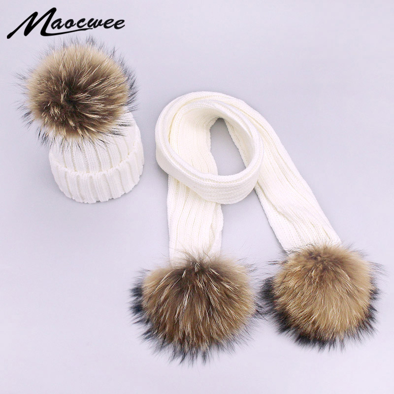 New Arrival Two-piece Scarf Hat Set Children Women Beanies PomPon Knitted Skullies Hats Autumn And Winter Warm Solid Color