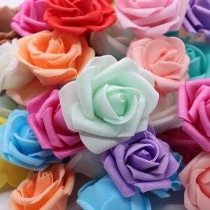 Image 5 - 4cm 30 sztuk/partia Big PE pianki Rose sztuczny kwiat głowy dekoracji ślubnej domu DIY Scrapbooking wieniec fałszywe dekoracyjne Ros