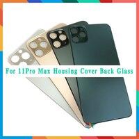 10 pçs grande buraco de volta vidro para o iphone 11 pro max/11pro bateria capa traseira porta chassi quadro volta habitação capa vidro