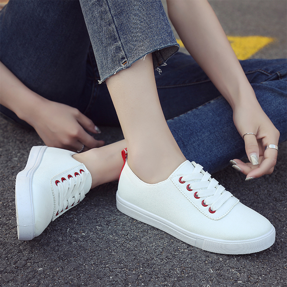 PUIMENTIUA 2020 Spring Hot Breathable Women Shoes Ladies Lace Up White Sneakers Shoes Valcanize Platform Sneakers Match Shoes title=