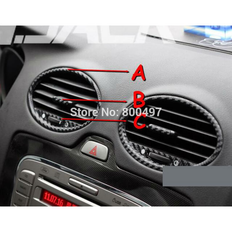 Image 4 - New Car Styling Car Accessory Covers Air condition Vents Carbon Fiber Vinyl Sticker Decorative Decal for Ford Focus MK2-in Car Stickers from Automobiles & Motorcycles