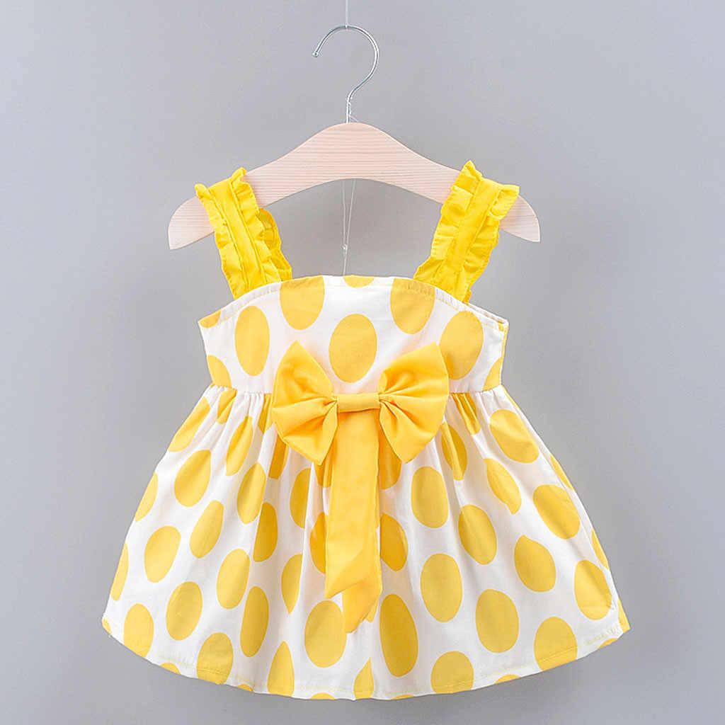 Bebê da criança meninas crianças cinta arco dot print vestido de verão vestidos de princesa babados bowknot bebê crianças vestidos doce princesa vestido