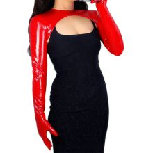 LATEX BOLERO GLOVES Shine Leather Faux Patent Red Top Jacket Cropped Shrug Women Long Leather Gloves WPU227