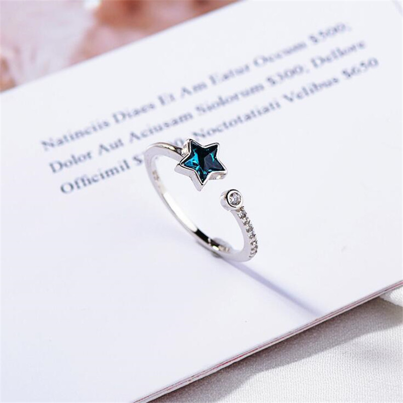 New Fashion Beautiful Deep Sea Blue Five-pointed Star 925 Sterling Silver Jewelry Personality Fresh Crystal Opening Rings SR521 1