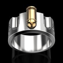 Vintage requintado punk russo roleta bala anel masculino personalidade ouro bala biker anéis para mulher boho jóias presente