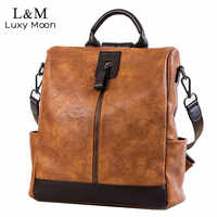 Fashion Women High Quality Leather Backpack Multifunction Leatherett Backpack For Female Big Bookbag Travel Bag Sac A Dos XA279H