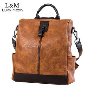 Fashion Women High Quality Leather Backpack Multifunction Leatherett Backpack For Female Big Bookbag Travel Bag Sac A Dos XA279H(China)