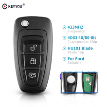 KEYYOU 3 Buttons Fob Modified Flip Folding Remote Car Key 315/433MHz 4D63 Chip For FORD Focus Fiesta Mondeo With HU101 Blade ASK