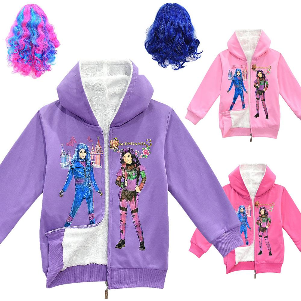 New Girl Autumn and winter Thickening cloth Double coat Children Warm Hooded Jackets <font><b>Descendants</b></font> <font><b>3</b></font> Printing Zipper <font><b>shirt</b></font> Outwear image