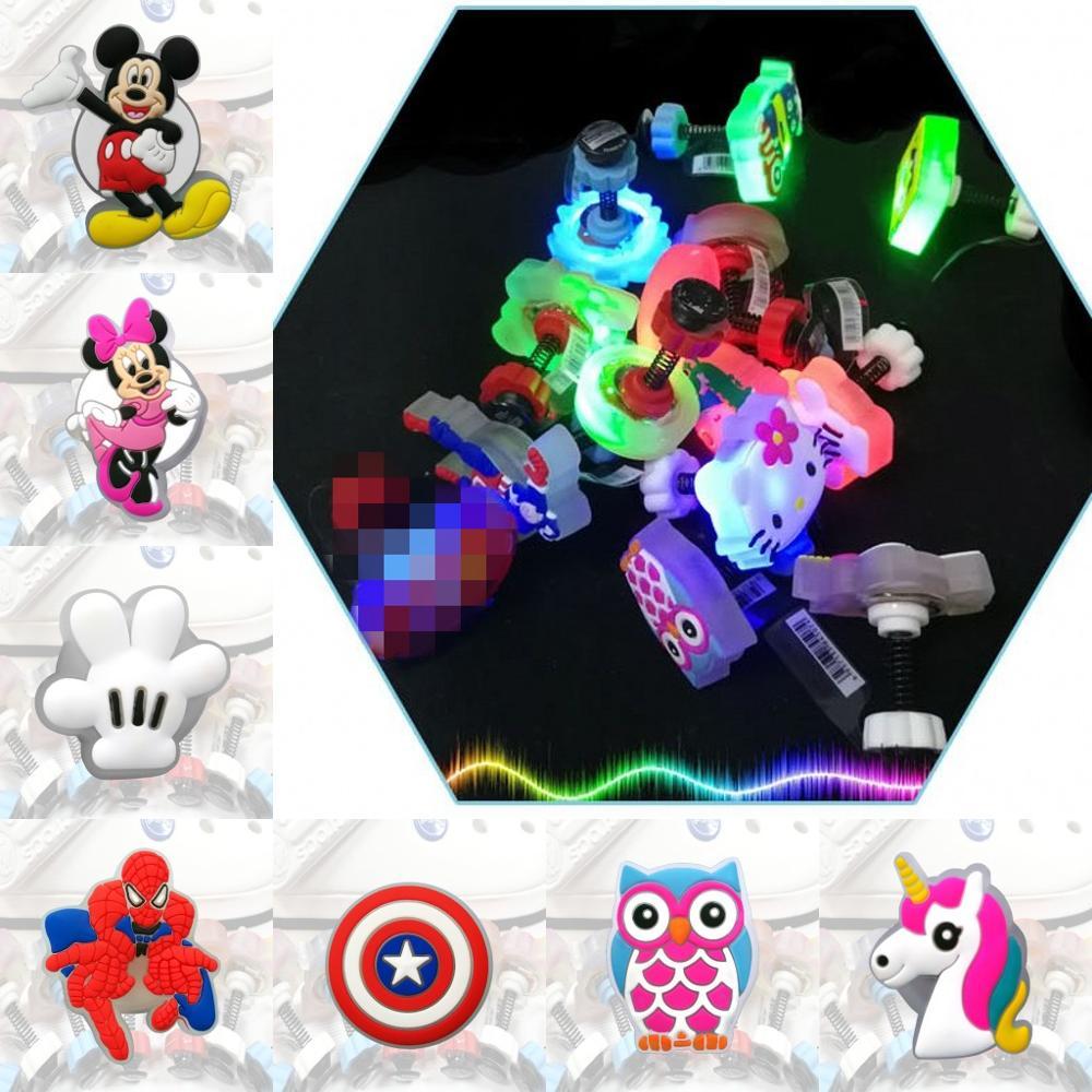 4PCS Avenger Cartoon LED Spring Shoe Charms Unicorn PVC Shoe Buckles Light Shoes Accessories Ornaments Fit For Croc JIBZ Gift