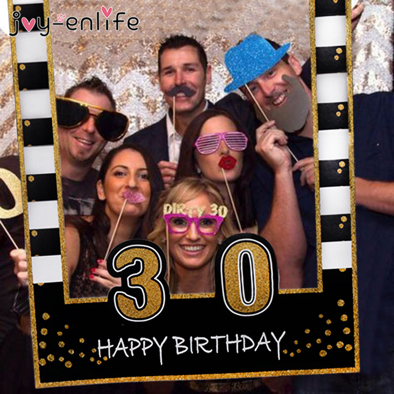 1 21 <font><b>30</b></font> <font><b>40</b></font> 50 Years Photo Booth <font><b>Frame</b></font> Birthday PhotoBooth Party Decorations Adult Photo Props Baby 1st Birthday Party Supplies image