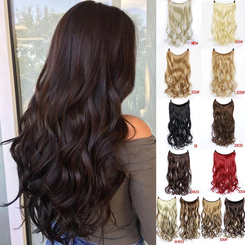 LVHAN Women Long Curly Hair Big Wave One Piece Natural Wig Set U-shaped Seamless Hair Extension Wig Piece Cute Headwear