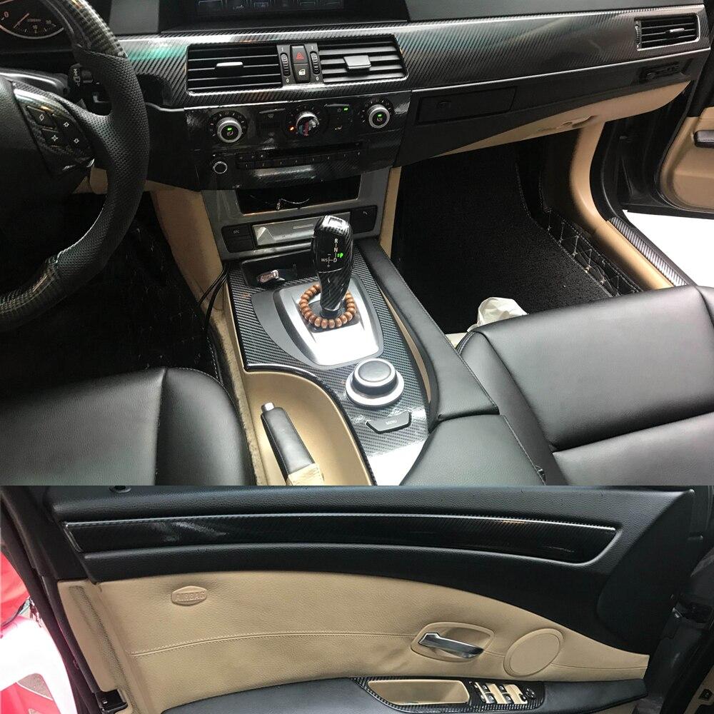 Black Car Decorative Sticker For BMW Old 5 Series E60 2004-2010 Carbon Fiber Set