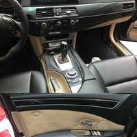 Per BMW 5 Serie E60 2004-2010 Interno Pannello di Controllo Centrale Maniglia Della Porta 5D Adesivi In Fibra di Carbonio Decalcomanie Auto styling Accessorie