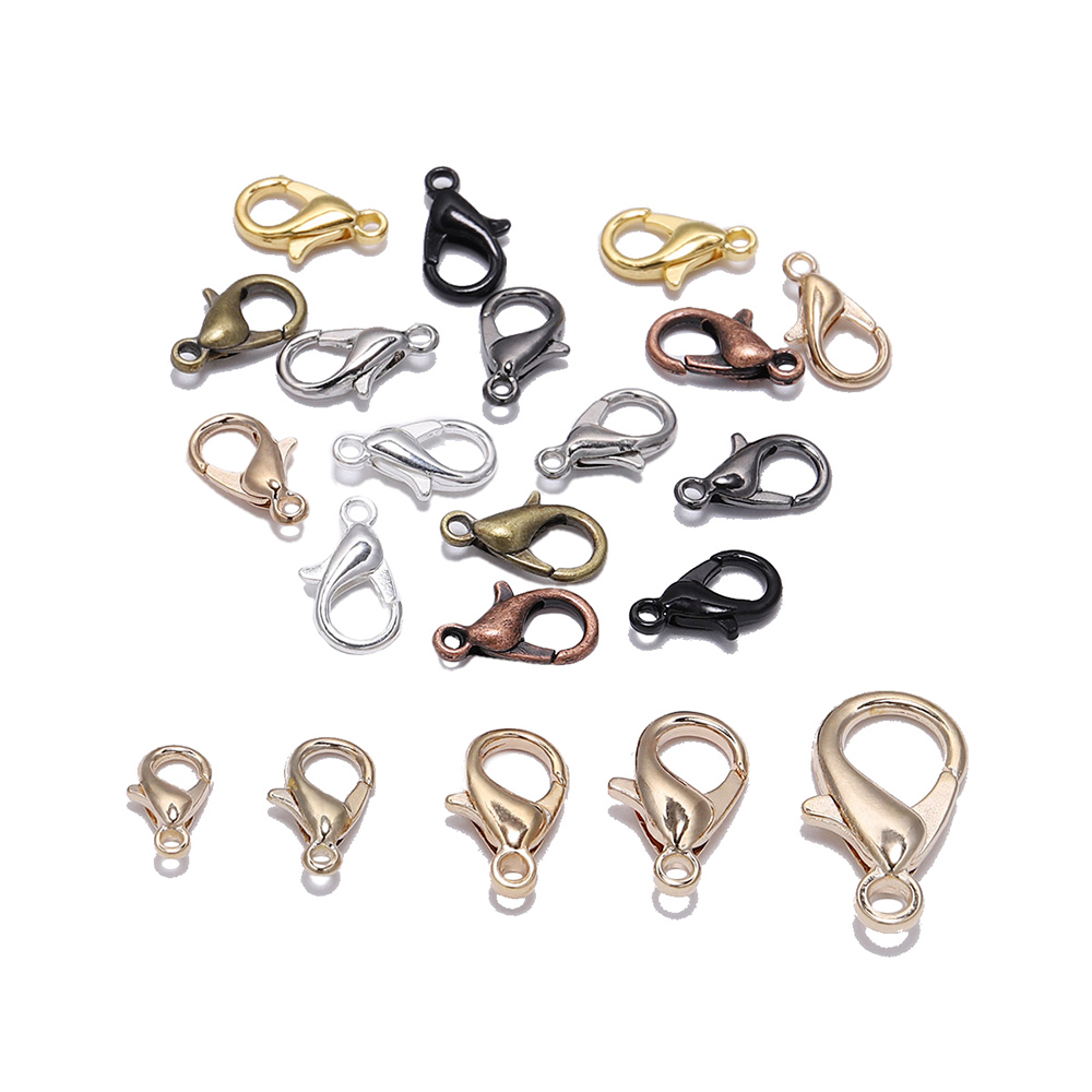 50pcs/lot  Jewelry Findings Alloy Silver Lobster Clasp Hooks For Jewelry Making Necklace Bracelet Chain DIY Supplies Accessories