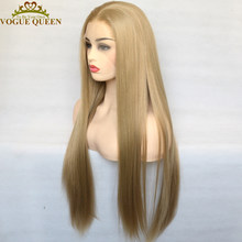 Vogue Queen Natural Blonde Synthetic Lace Front Wig Heat Resistant Fiber Natural Hairline Daily Wear For Women