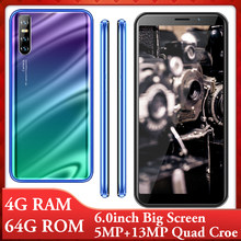 9X android handys 6,0 inch quad core smartphones 4G RAM 64G ROM 5MP + 13MP gesicht ID entsperrt celulars Globale version wifi 3G