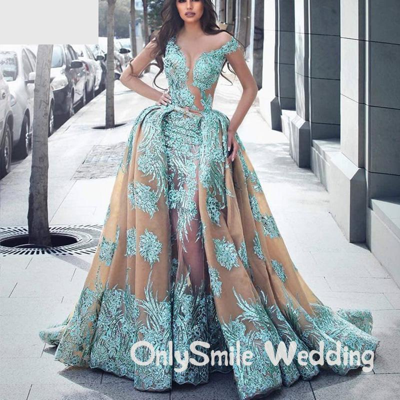 Illusion Sexy Prom Dresses Long Sweetheart Neckline Detachable Train Lace Appliques Long Evening Dress Robe De Soiree Arabic