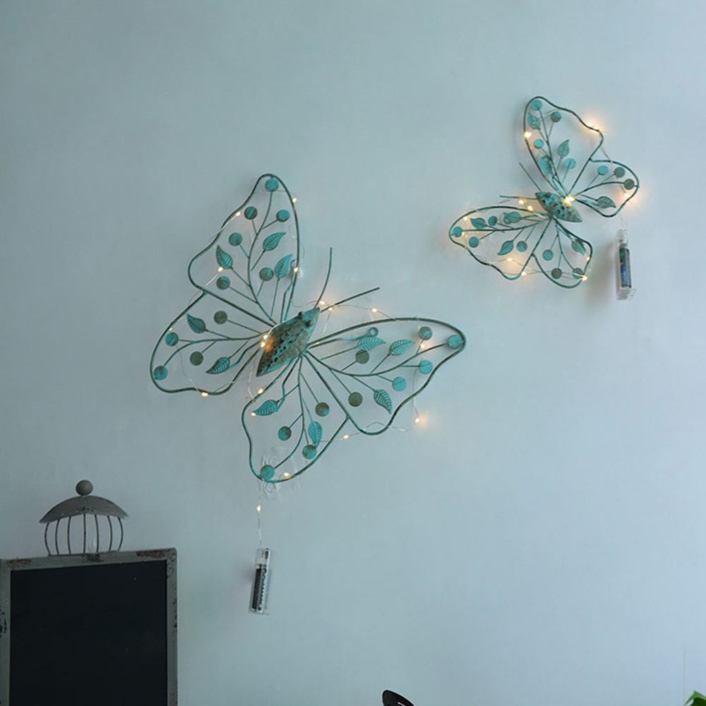 Scene Wrought Iron Wall Hanging Creative Retro Old Handmade Metal Iron Butterfly Shape Wall Hanging Wall Sticker Home Decoration