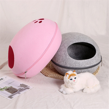 Dog Cat Bed Cave Sleeping Bag Zipper Egg Shape Felt Cloth Pet House Nest Basket Products For Cats Supplies