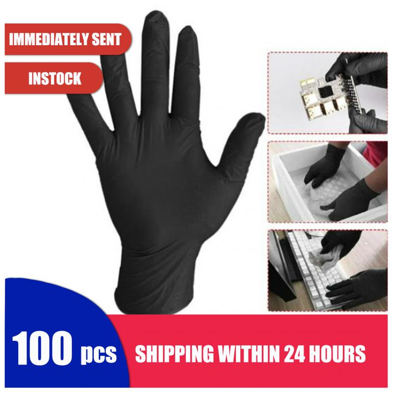 20/100 Pcs Disposable Protective Gloves Black Blue Slip Resistant Powder Latex Anti-Dirty Nitrile Gloves Hands Protection