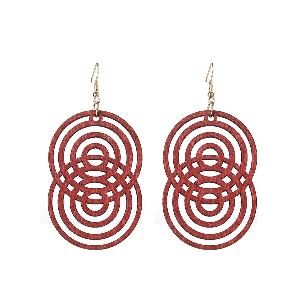 YULUCH Ethnic African Indian Round Hollow Wooden Dangle Earrings Fashion Jewelry Personality Black Red Brown Long Drop Earrings