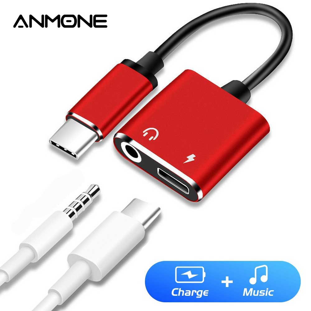 ANMONE Type-C Cable Converter To 3.5mm 2 In 1 Transfer Connector For Huawei Mate 30 RS Charging Type C Earphone Jack Adapter