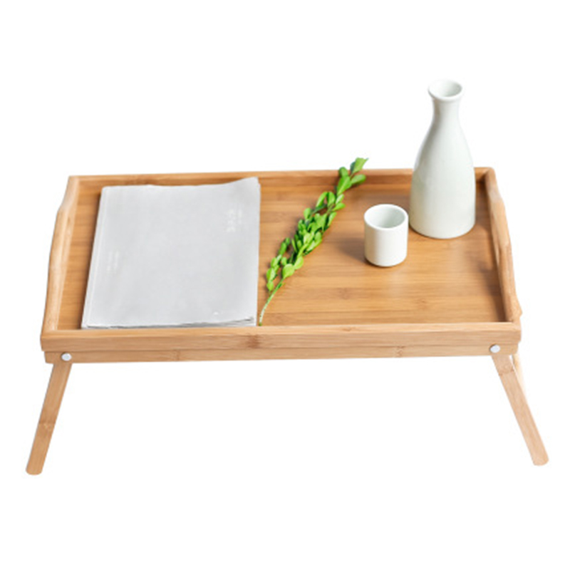 Foldable Bamboo Wood Bed Tray Breakfast On The Bed Laptop Desk Simple Dining Table For Sofa Bed Table Picnic With handle title=