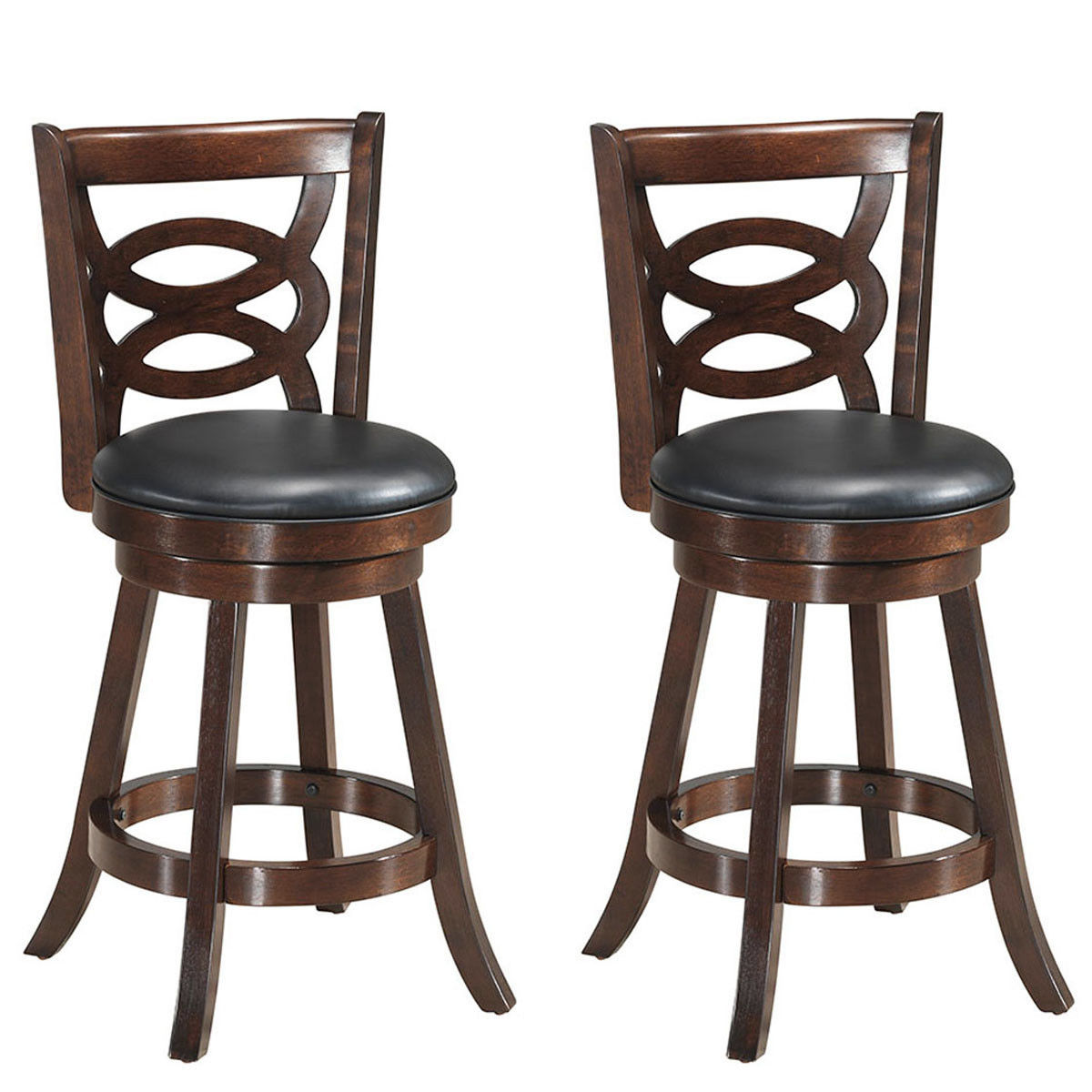 Costway Set Of 2 Bar Stools 24'' Height Wooden Swivel Backed Dining Chair Home Kitchen