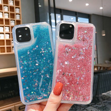 IUENUA Colorful Dynamic Stars Quicksand Phone Case For iPhone 11 Pro Max XR XS MAX X 6 6S 7 8 Plus Luxury Bling Soft Cover