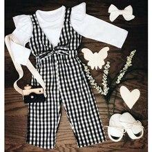 От 1 до 5 лет одежда для малышей Комплекты одежды для девочек, для детей с оборками, топы белого цвета, футболка в полоску, штаны в клетку костюм-комбинезон со штанами одежда