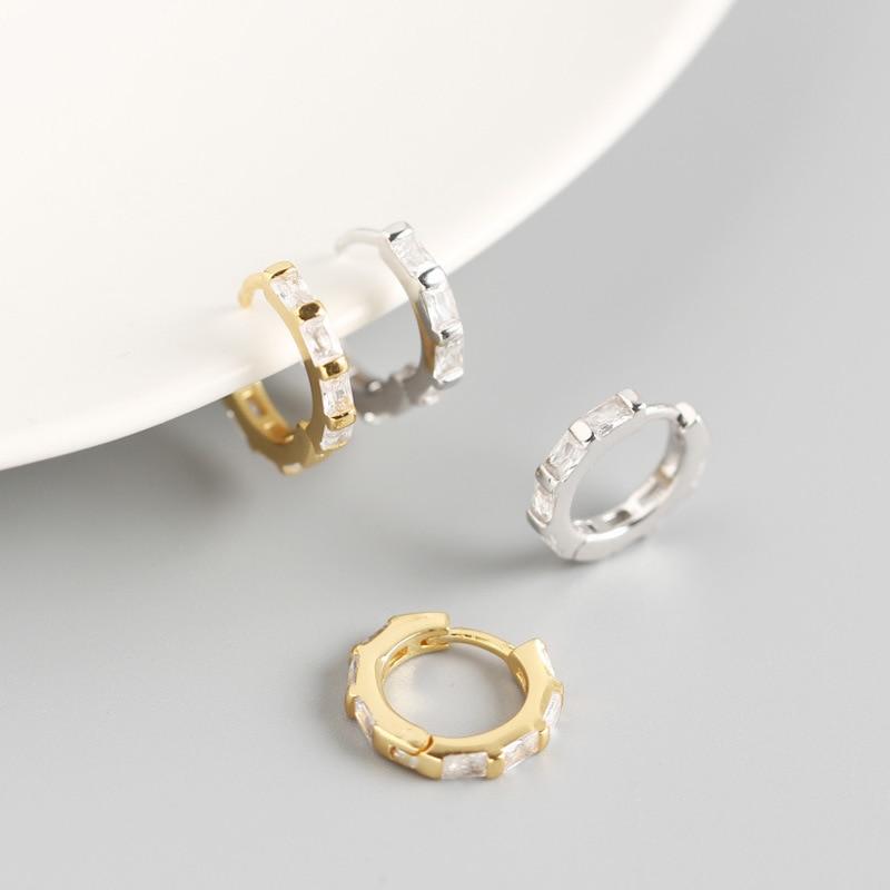 OBEAR 100% 925 Sterling Silver Square Zircon Round Delicate Stud Earrings for Women Jewelry Girlfriend Gift