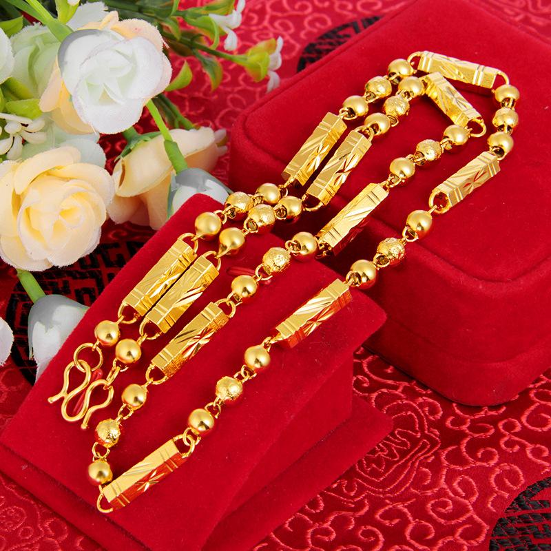 24k желтое золото бамбуковое ожерелье для мужчин 6 мм 7 8 песок