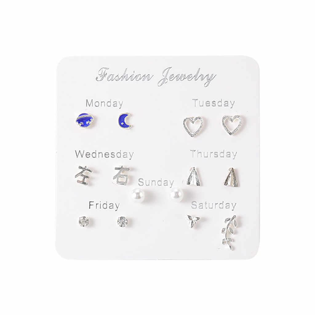 2019 Latest Design Brand 7 Pairs Simple Travel Set Earrings Temperament Trend Fashion Gifts Korean Earrings Jewelry For Women
